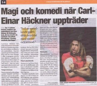 Magi och komedi när Carl-einar Häckner uppträder - Lokaltidningen Markaryd Ålmhult 131009
